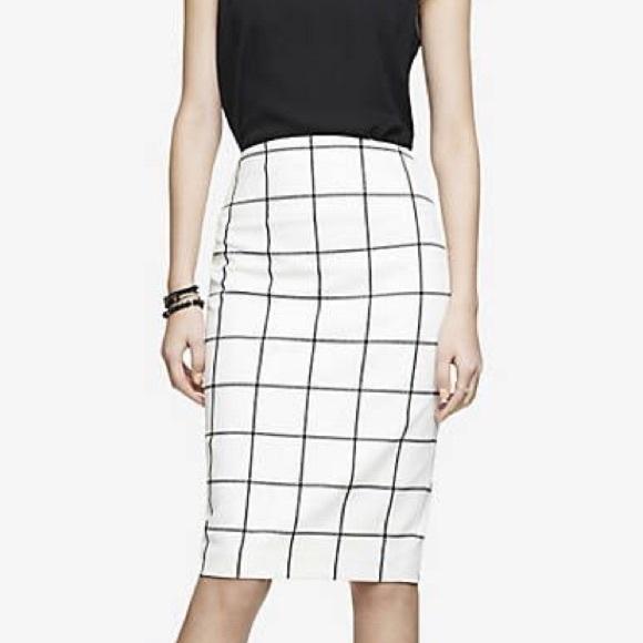 577136514 Express Dresses & Skirts - Express Black and White Windowpane Pencil Skirt